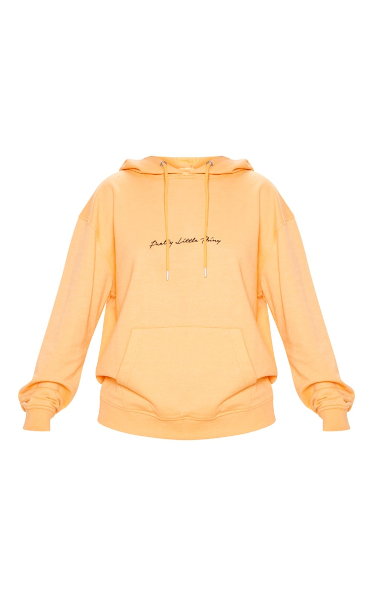 PRETTYLITTLETHING Tangerine Embroidered Oversized Hoodie 3