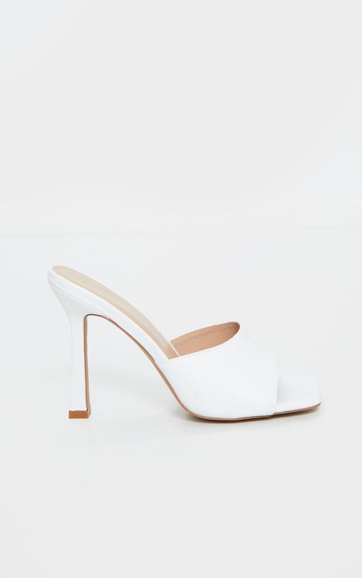 White Square Toe Mule High Heels 5