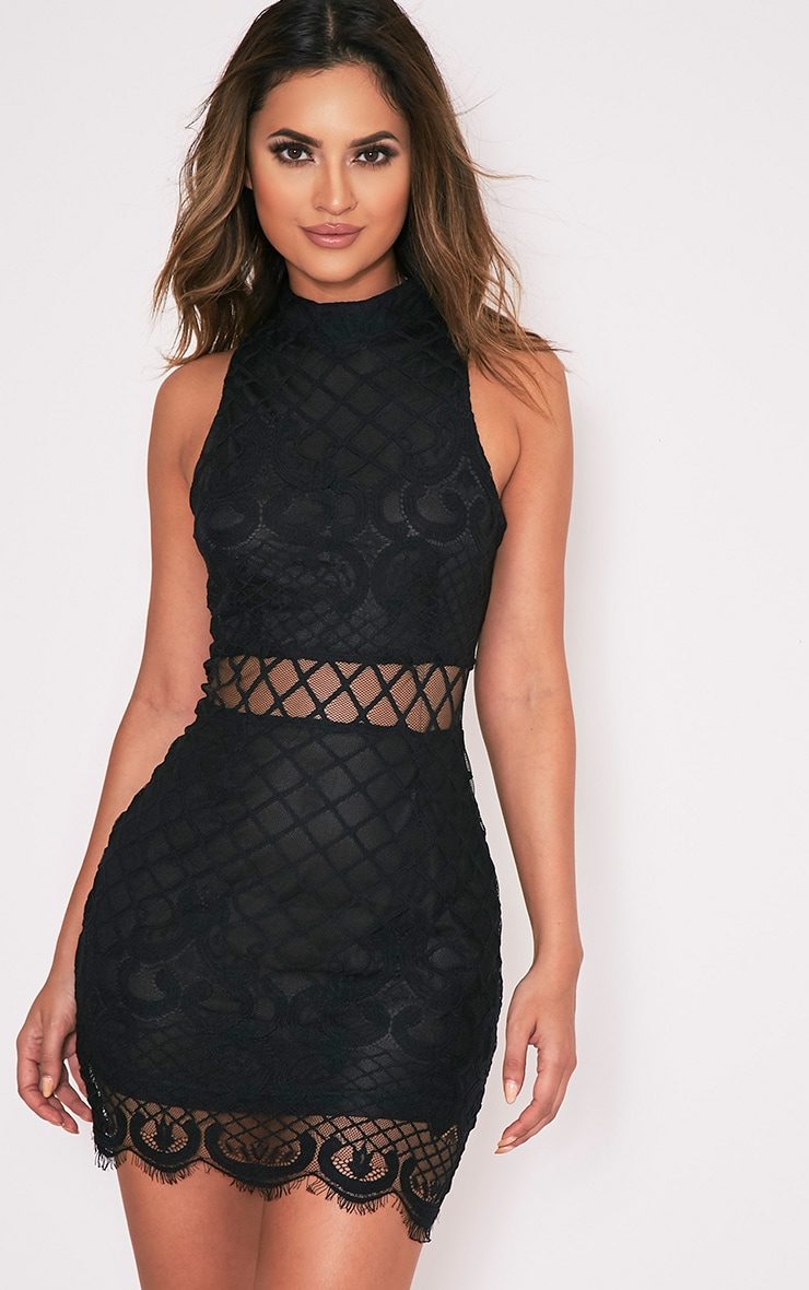 Aura Black Lace Up Back Bodycon Dress 1