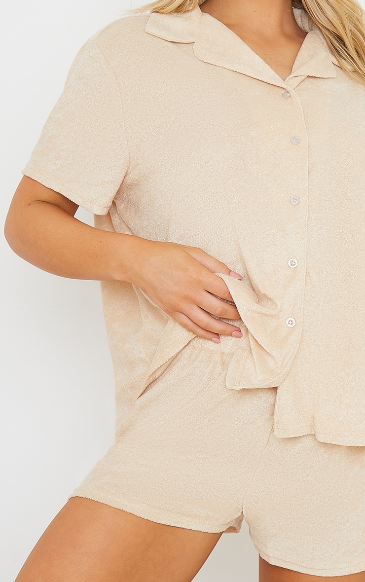 Taupe Towelled Mix And Match Short Sleeve Button Up Lounge Top 4