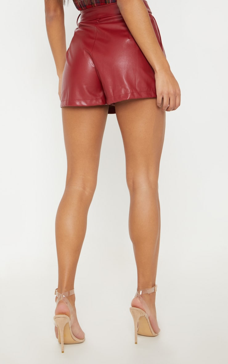 Burgundy Faux Leather Belted Short 4