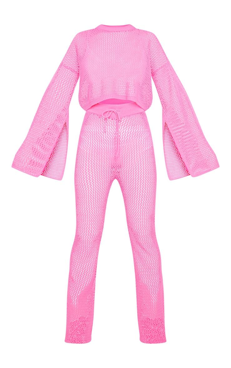 Pink Open Knitted Split Sleeve Set 5