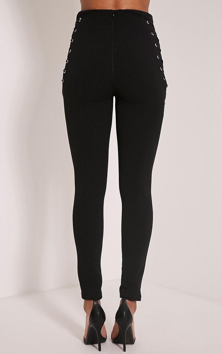 Amia Black Lace Up Pocket Trousers 5