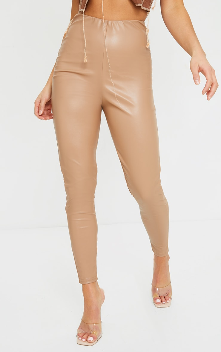 Petite Stone Basic Faux Leather High Waist Leggings 2