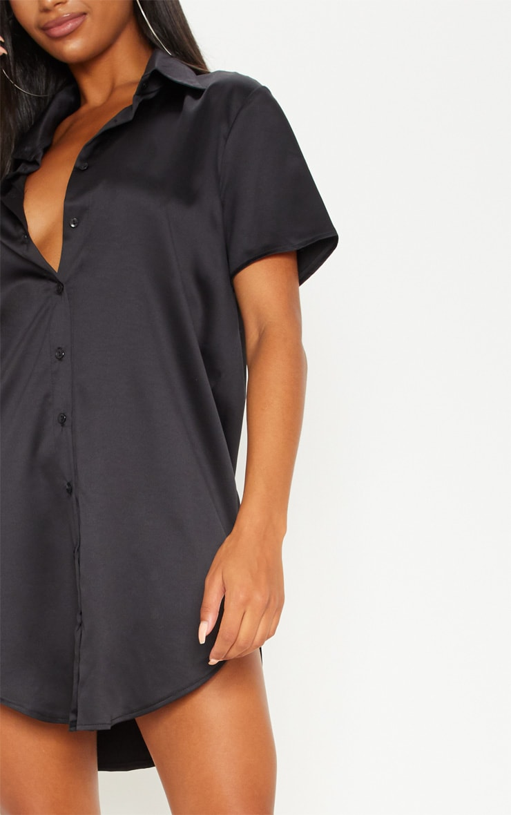 Black Satin Short Sleeve Shirt Dress 5