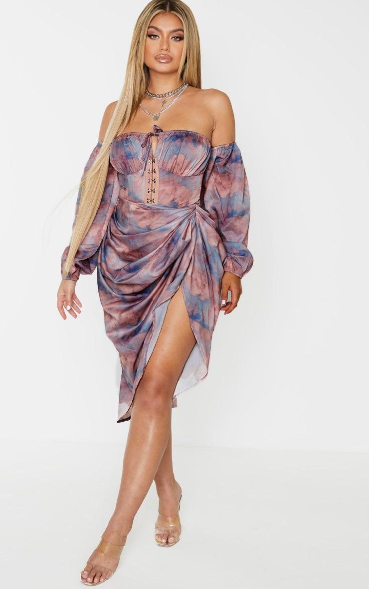 Blue Renaissance Cloud Print Hook and Eye Bardot Long Sleeve Bodysuit 5
