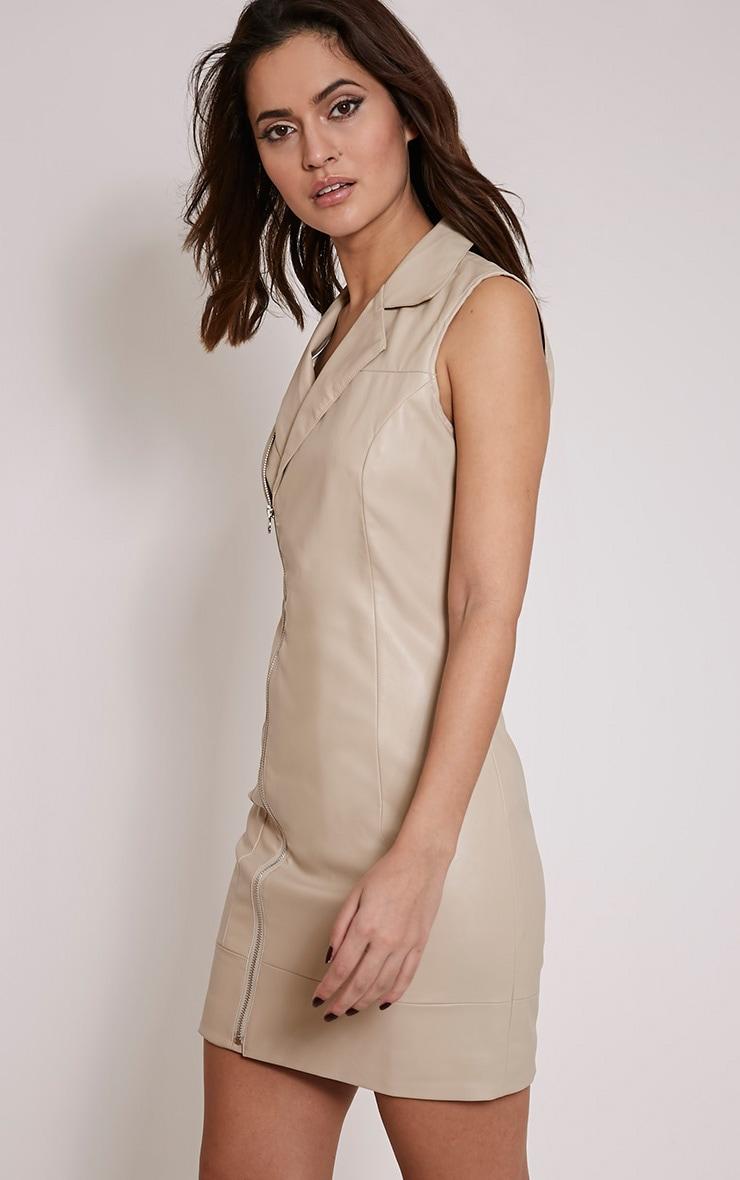 Chantal Nude Faux Leather Blazer Dress 4