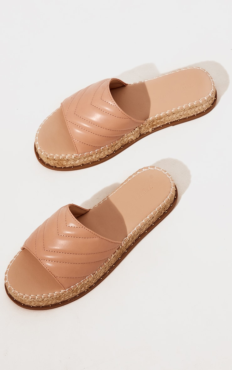 Nude Quilted Mule Flatform Espadrille Sandals 3