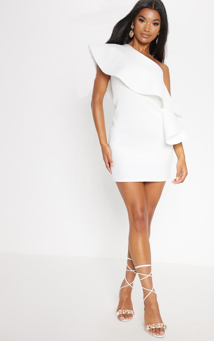 White Bonded Scuba One Shoulder Ruffle Dress