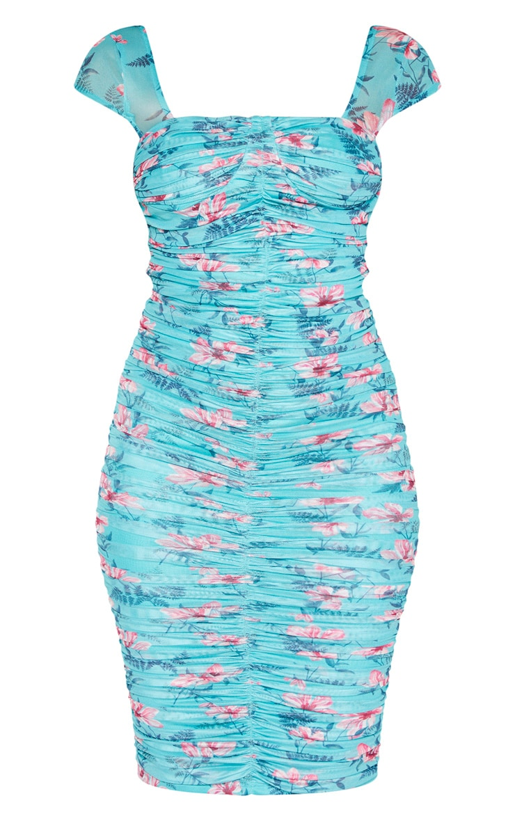 Aqua Blue Floral Printed Mesh Ruched Midi Dress 3