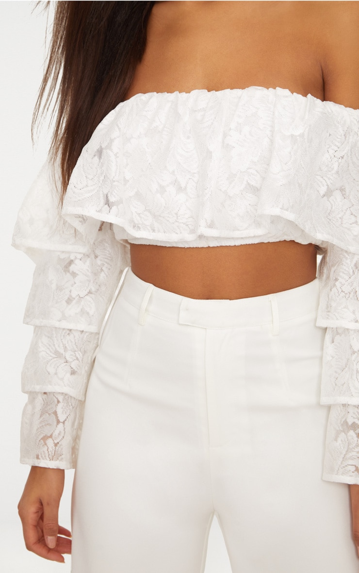 White Tiered Lace Frill Crop Top 5