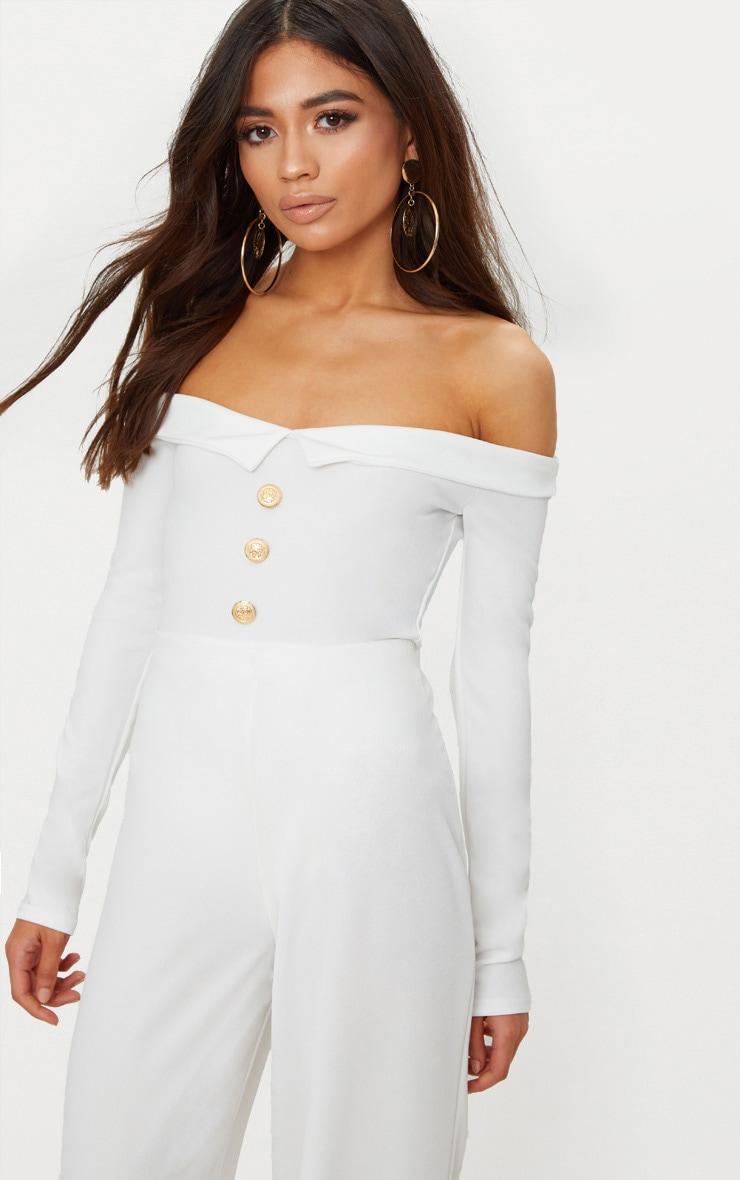 Petite White Button Front Tux Detail Long Sleeve Bodysuit  1