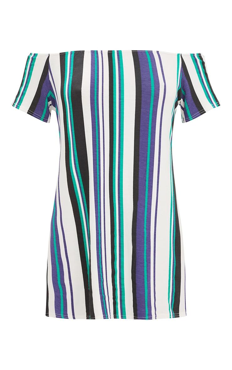 Green Striped Bardot Shift Dress 3
