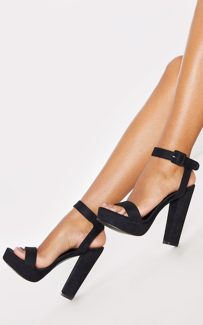 Black Faux Suede High Platform Sandal