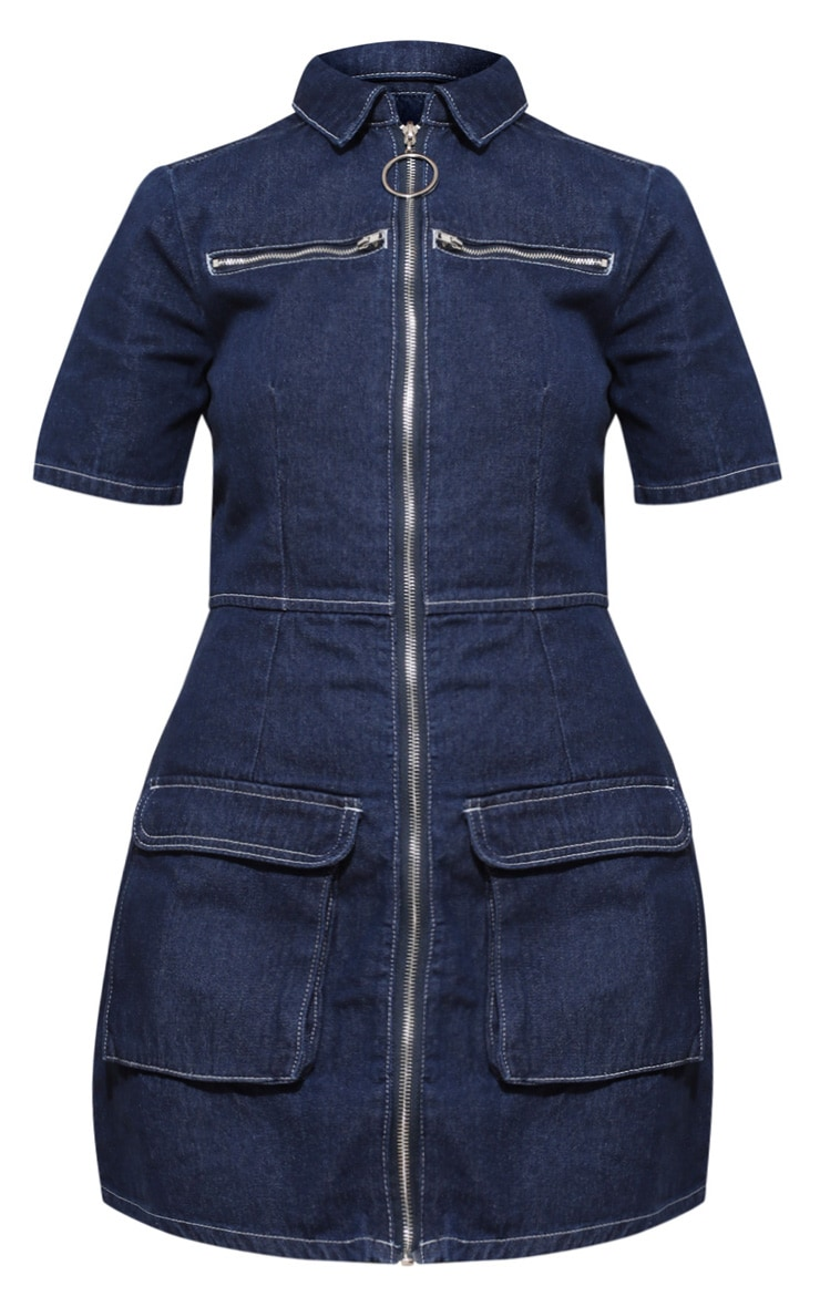 Plus Mid Wash Zip Detail Denim Bodycon Dress 3
