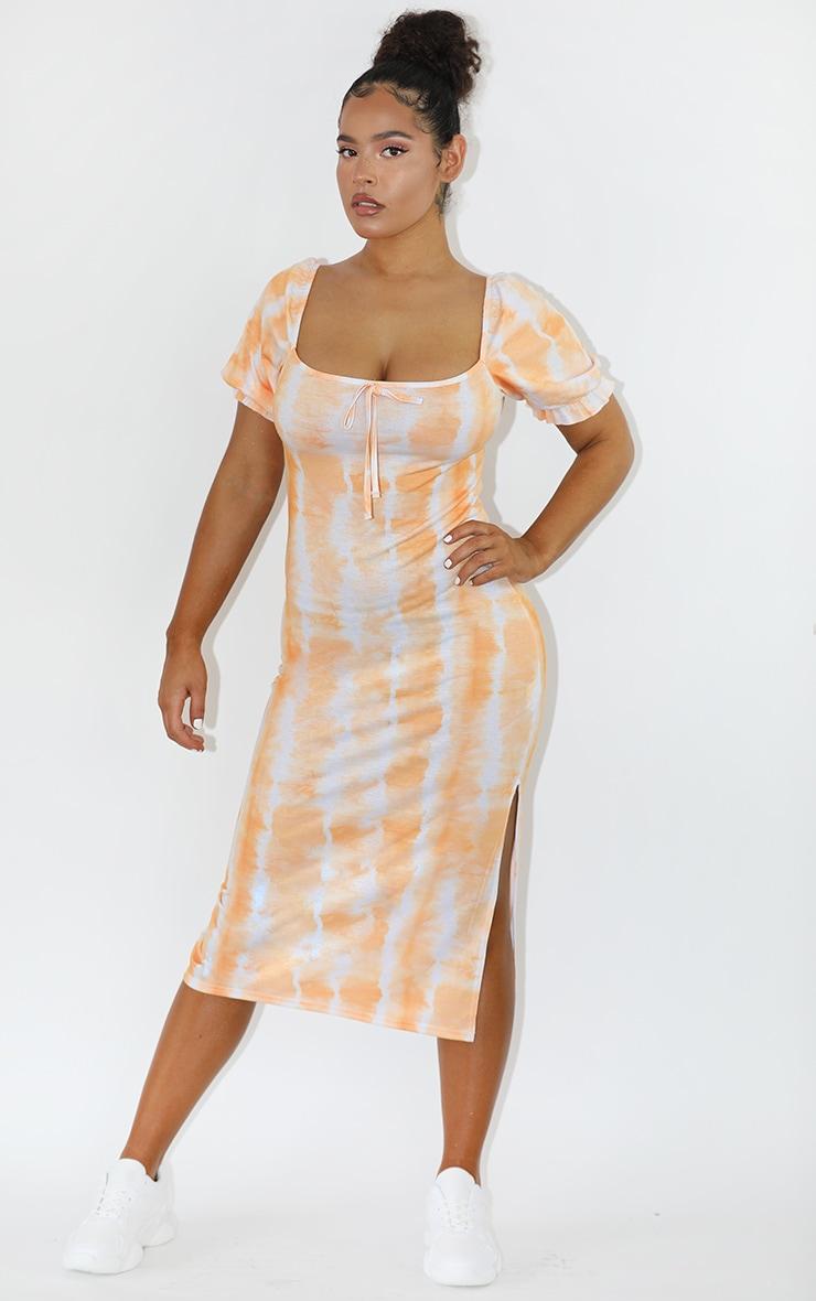 Orange Tie Dye Puff Sleeve Midi Smock Dress 3