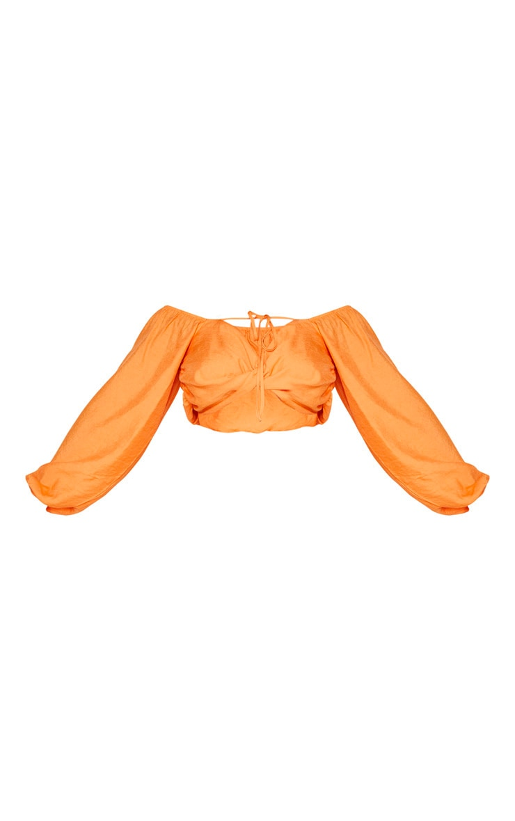 Plus Orange Woven Twist Front Tie Neck Bardot Crop Top 3