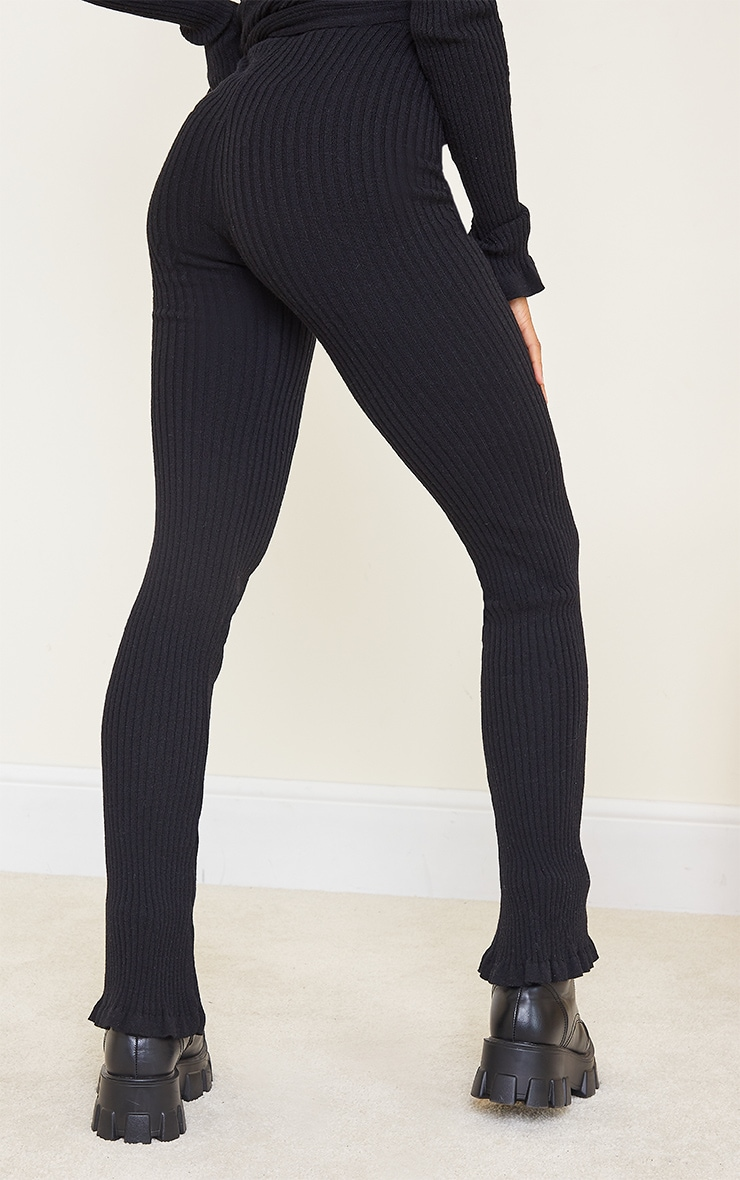 Black Ribbed Knitted Flare Trousers 3