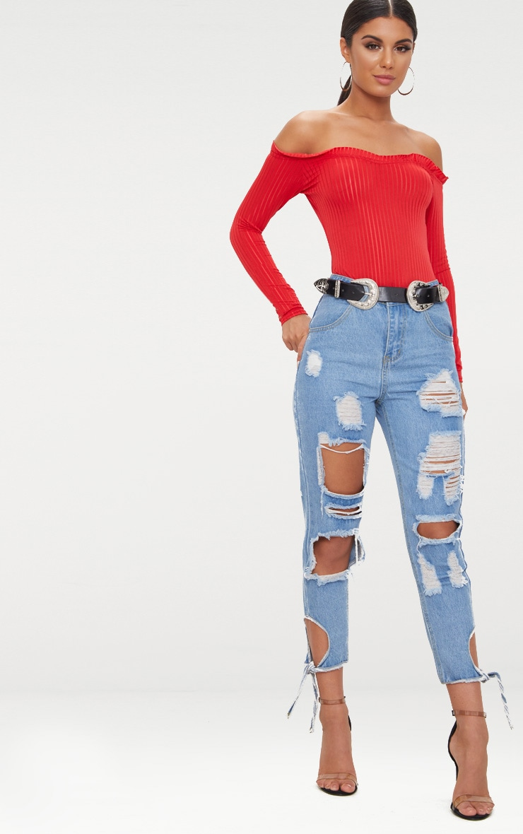 Red Mesh Stripe Bardot Long Sleeve Thong Bodysuit 5