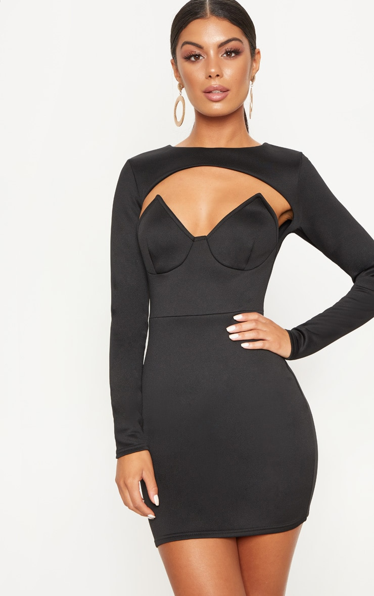 Black Long Sleeve Plunge Cut Out Detail Bodycon Dress 1