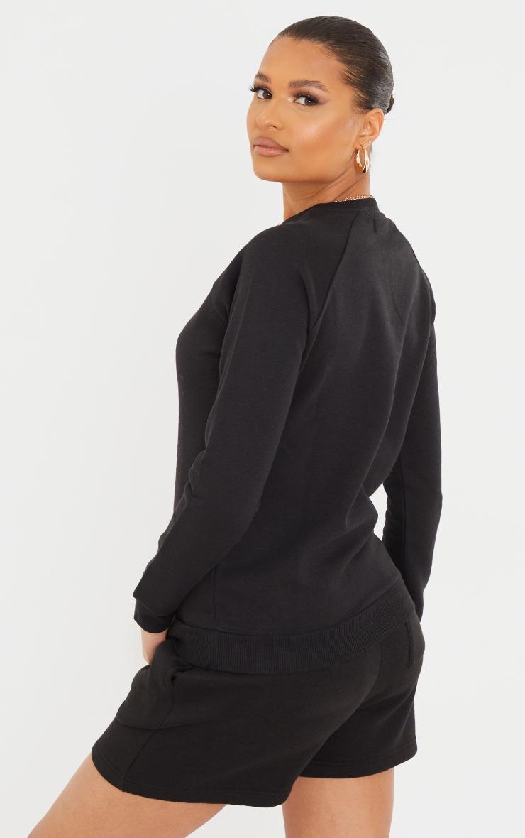 Recycled Basic Black Slim Sweatshirt 2