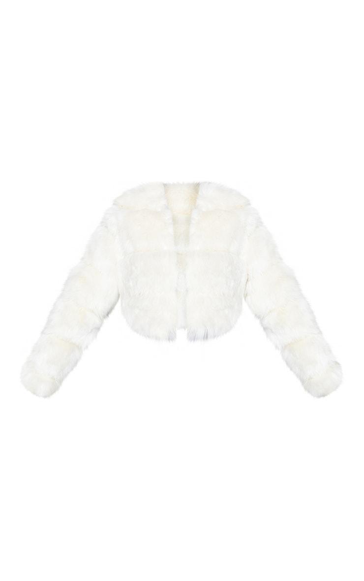 Cream Premium Cropped Faux Fur Bubble Coat 5