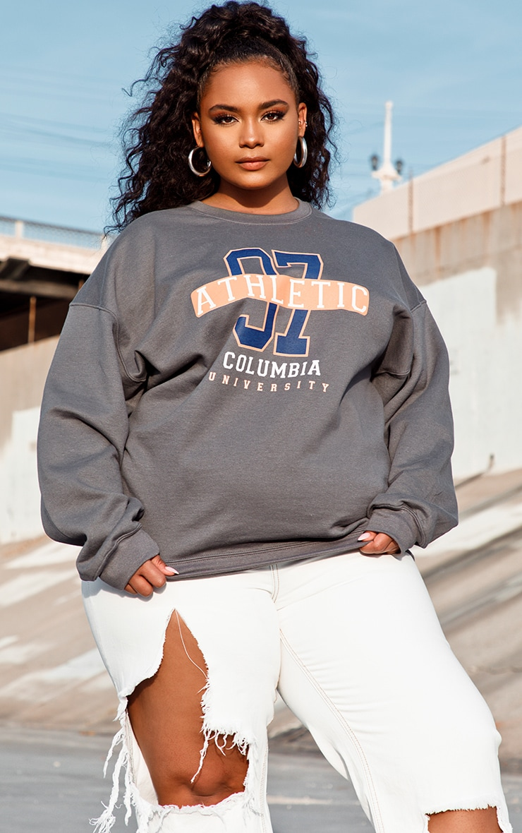 Plus Charcoal 97 Athletic Slogan Sweater 3