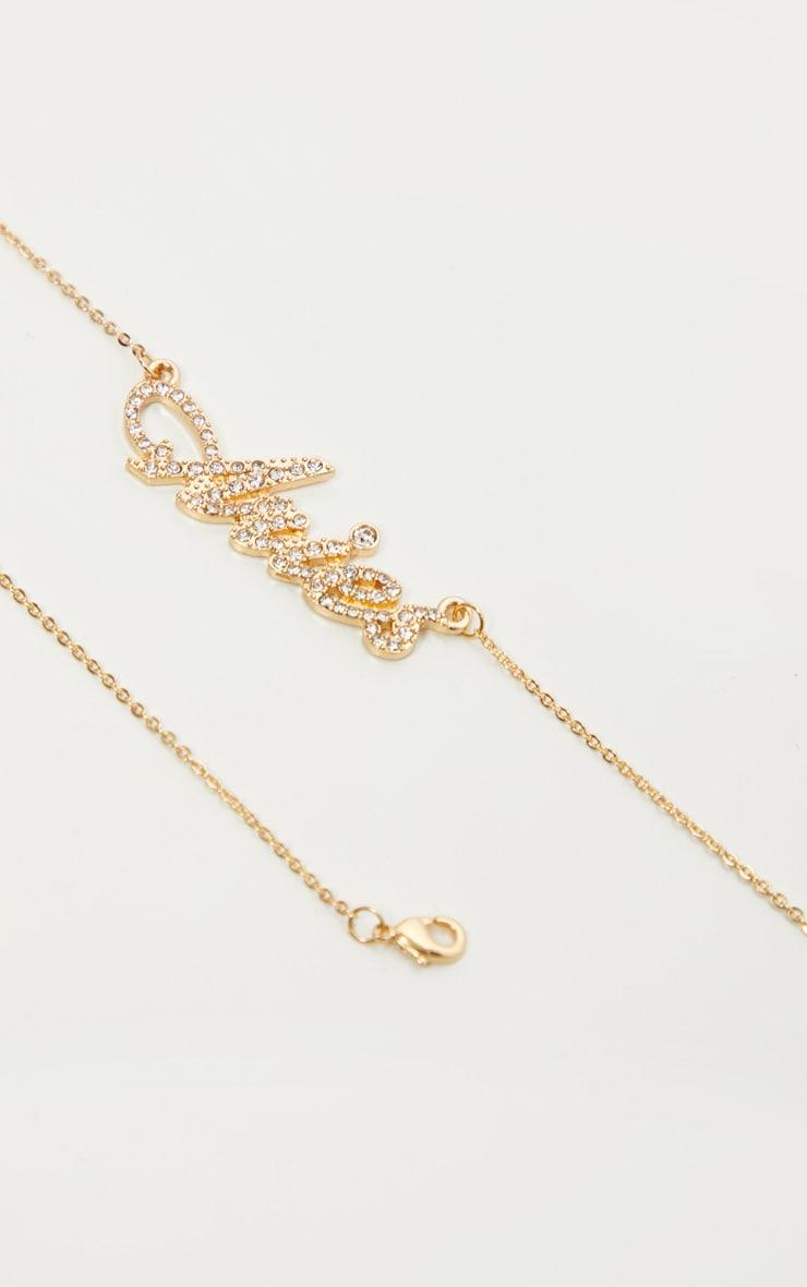 Gold Diamante Aries Star Sign Necklace 4