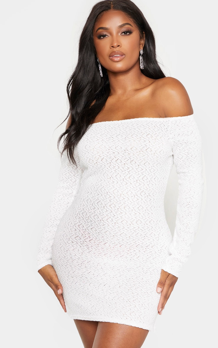 Shape Cream Textured Knit Bodycon Dress 1