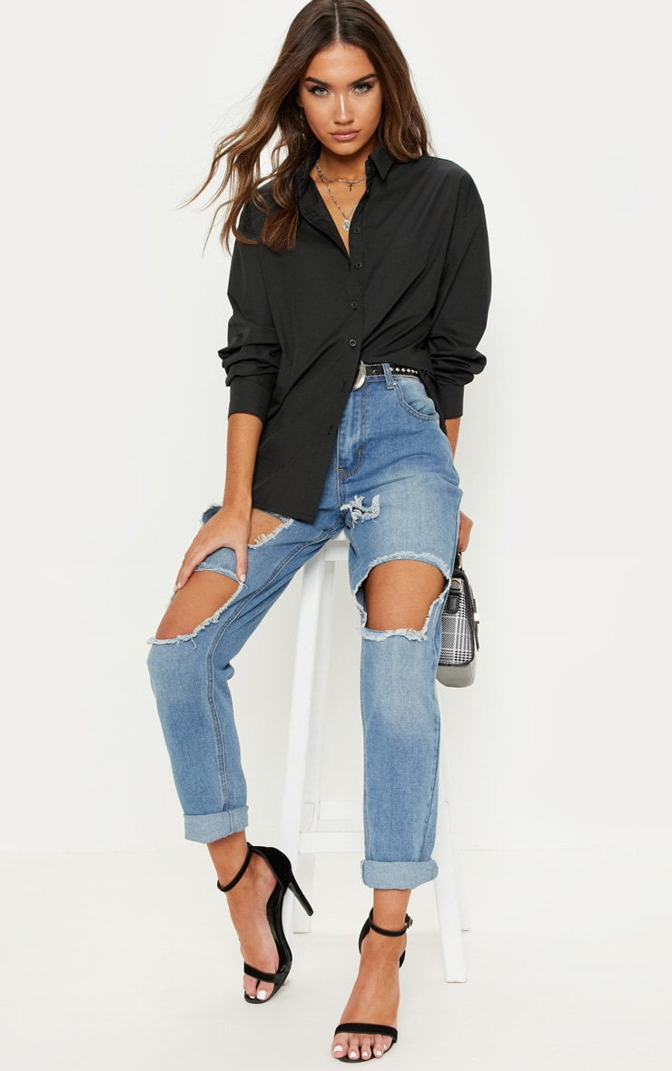 Black Button Cotton Oversized Shirt 4