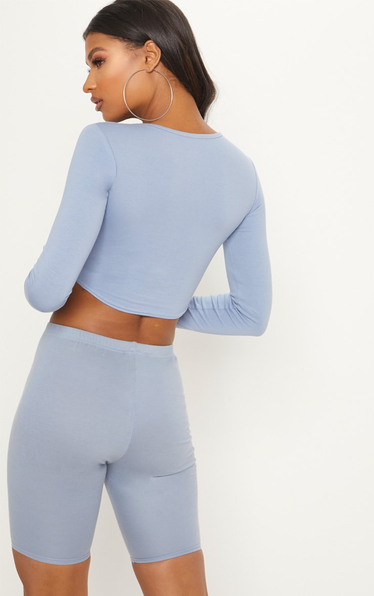 Charcoal Blue Curved Hem Long Sleeve Crop Top  2