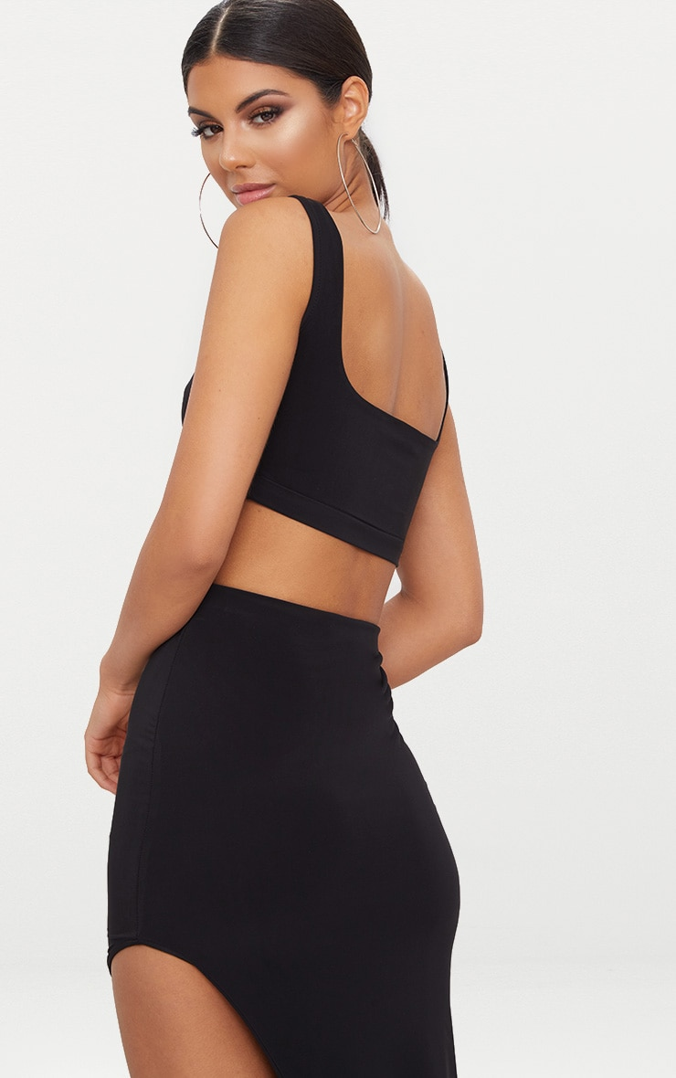 Black Second Skin Slinky Square Neck Crop Top 2