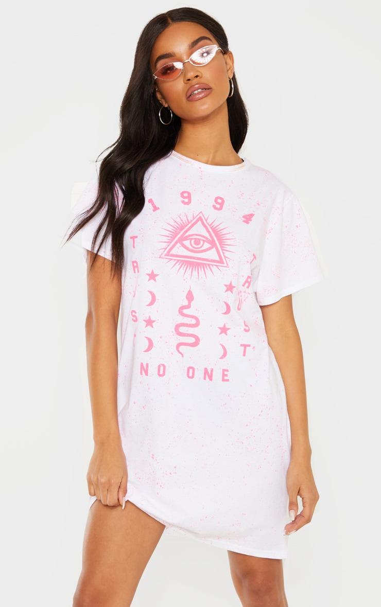 White 1994 Slogan Neon Splatter Oversized T Shirt Dress 3