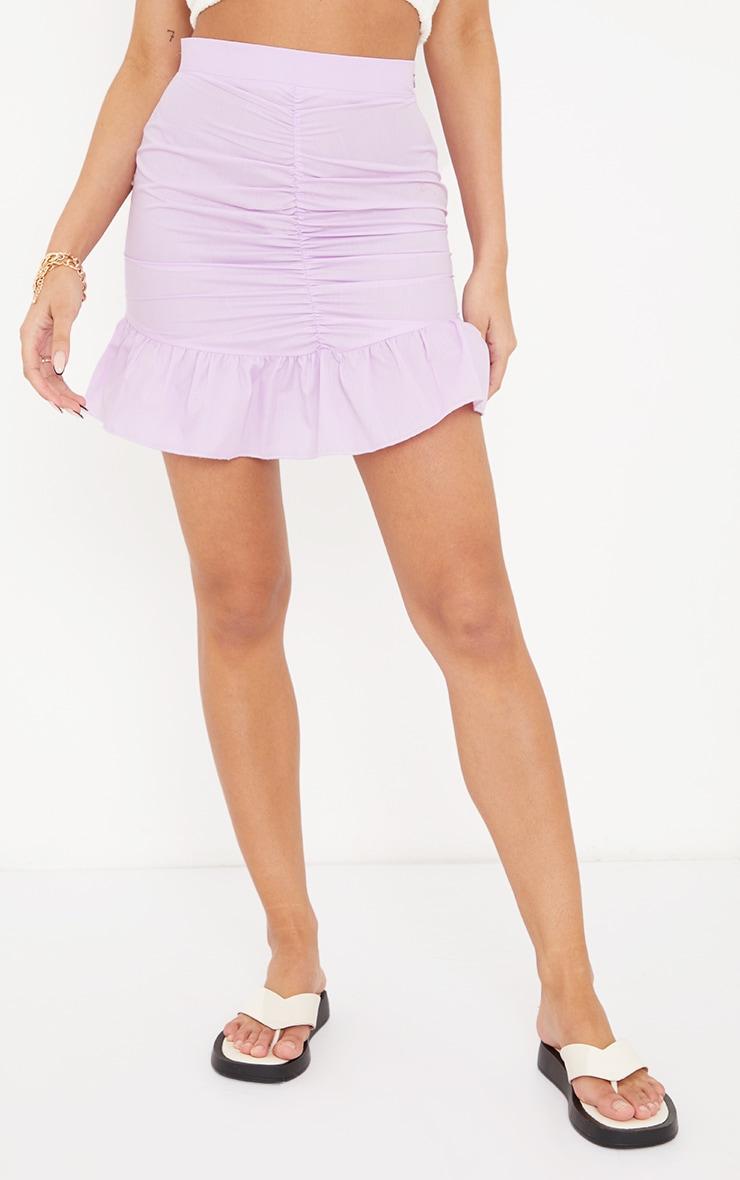 Lilac Woven Ruched Frill Hem Mini Skirt 3