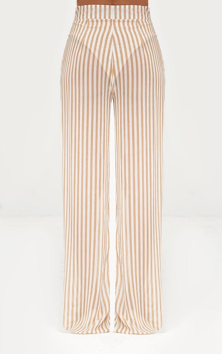 Stone Sheer Stripe Wide Leg Trousers 4