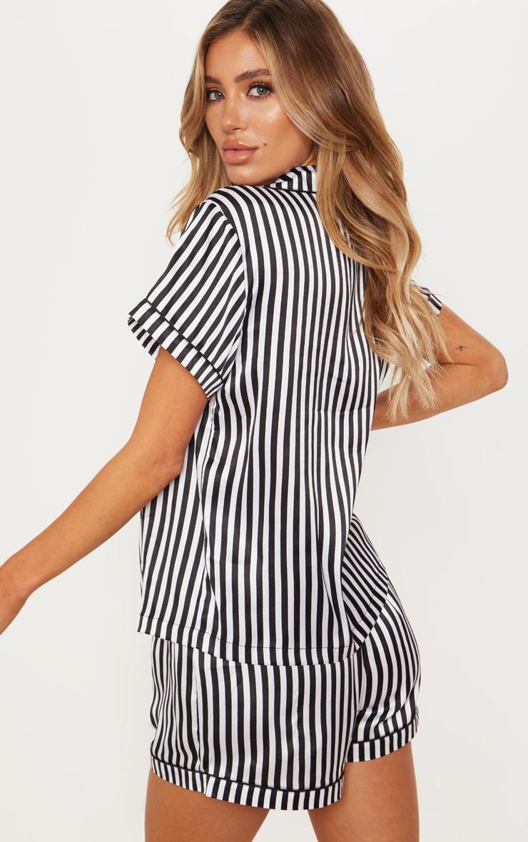 Black & White Striped Button Up Short Pyjama Set  2