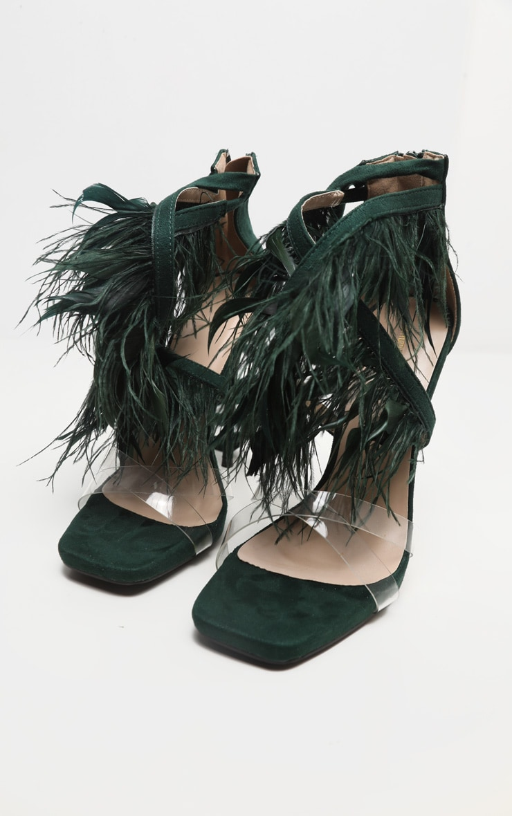 Emerald Square Toe Asymmetric Strap Feather Sandal 4