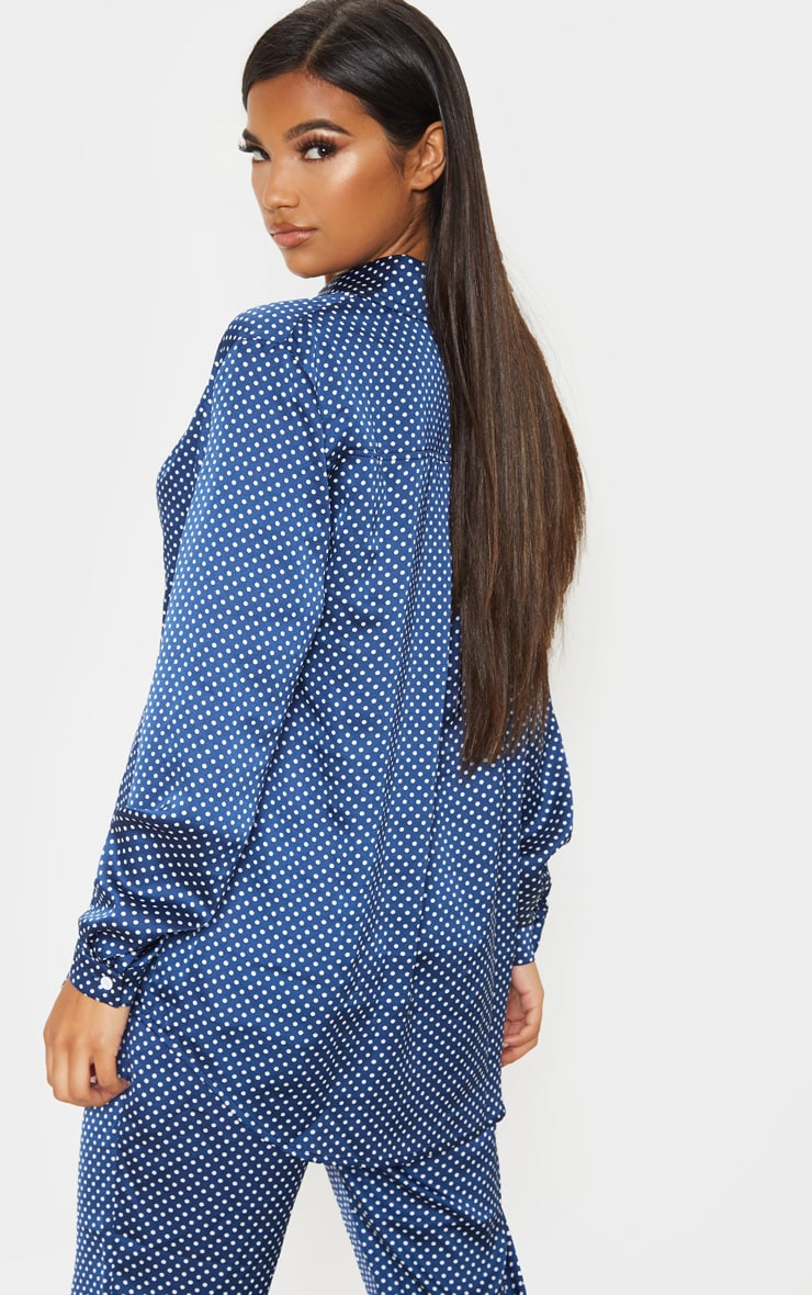 Navy Polka Dot Print Oversized Shirt 2