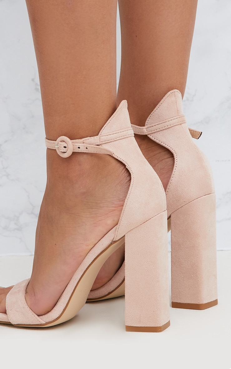 Nude Faux Suede Block High Heeled Sandals 5