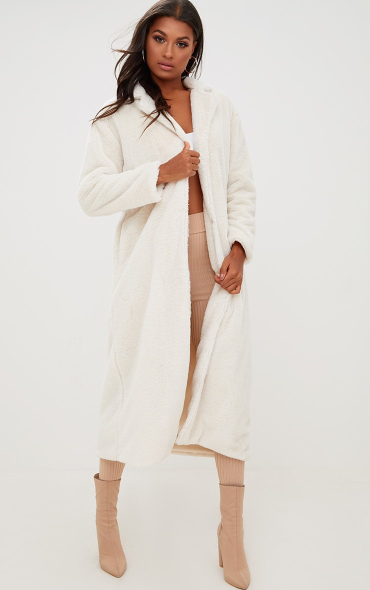 Cream Longline Faux Fur Coat 1