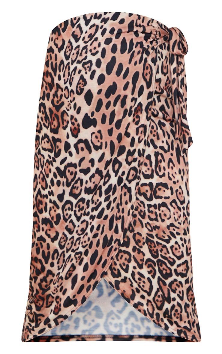 Maternity Brown Leopard Wrap Over Midi Skirt 5