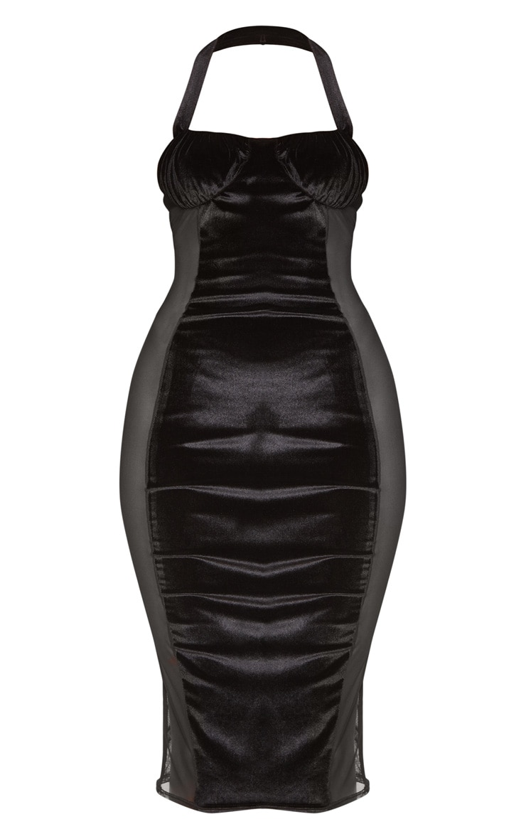 Black Velvet Mesh Insert Halterneck Midi Dress 3