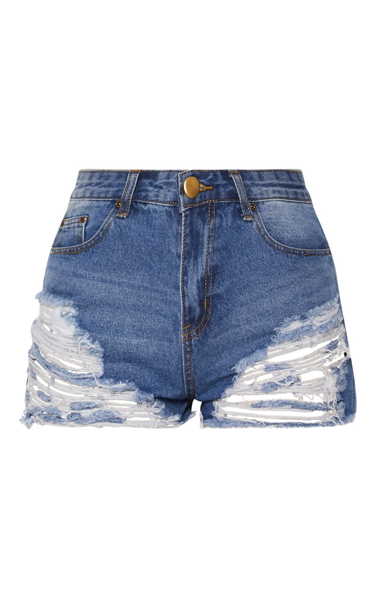 Jeanie Mid Wash Extreme Ripped Denim Shorts 2