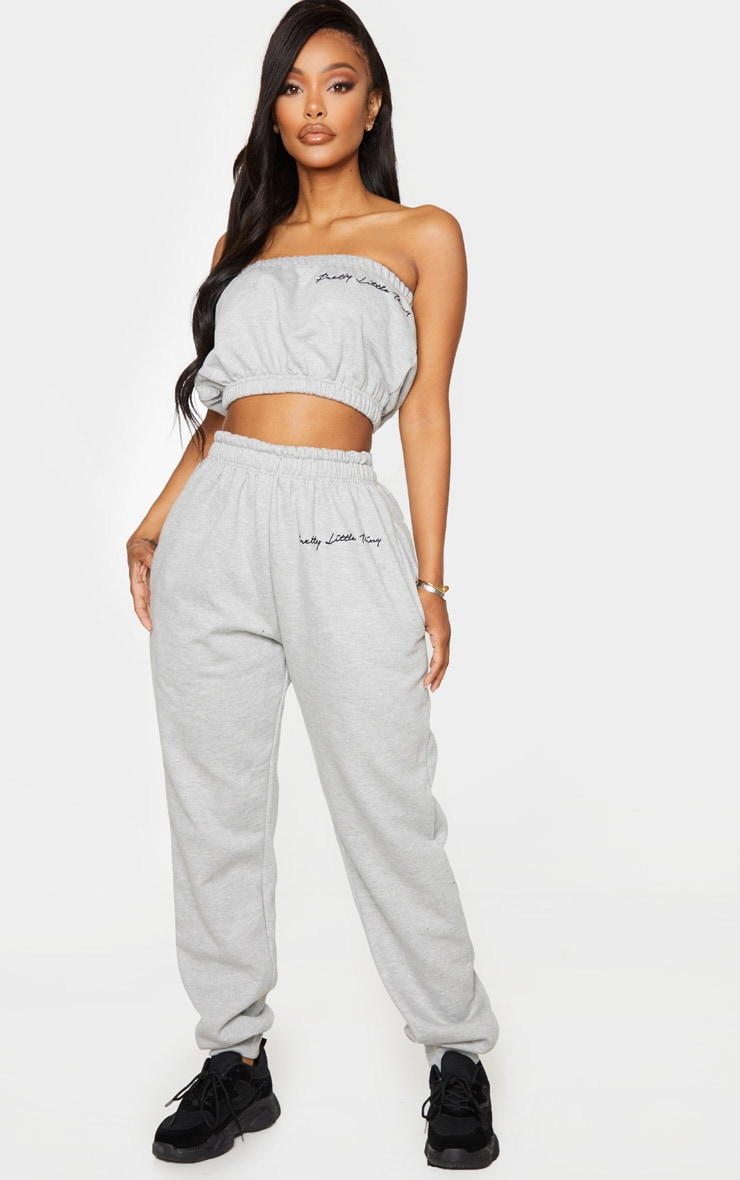 PRETTYLITTLETHING Shape Grey Embroidered Joggers 1