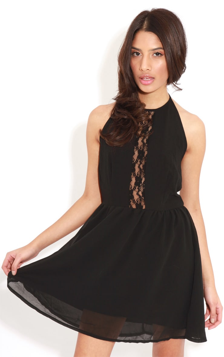 Lisa-Ann Black Lace Panel Halterneck Dress 4
