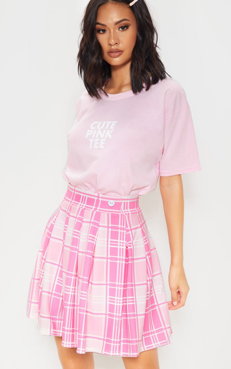Pastel Pink Check Print Pleated Side Split Tennis Skirt 5