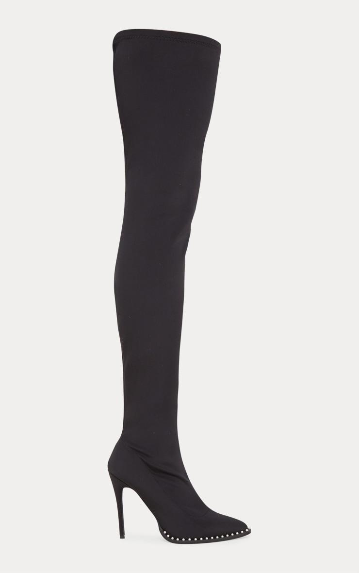Black Neoprene Pearl Embellished Thigh High Boot 3