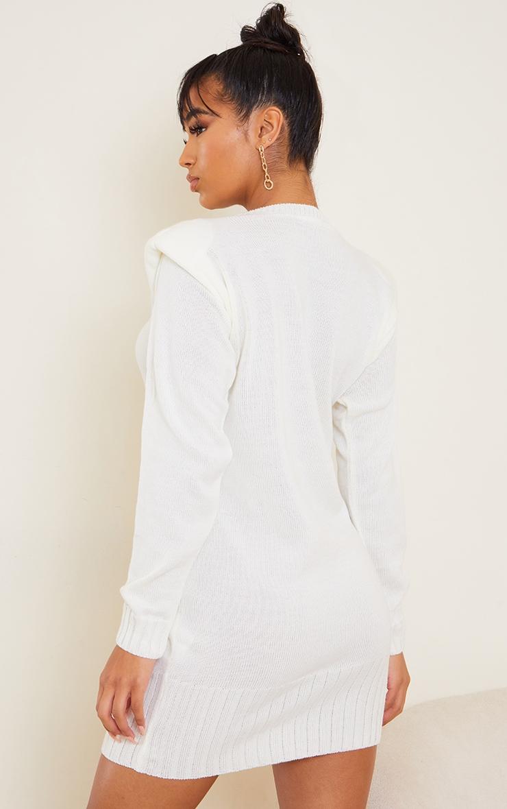 Cream Shoulder Pad Knitted Jumper Dress 2