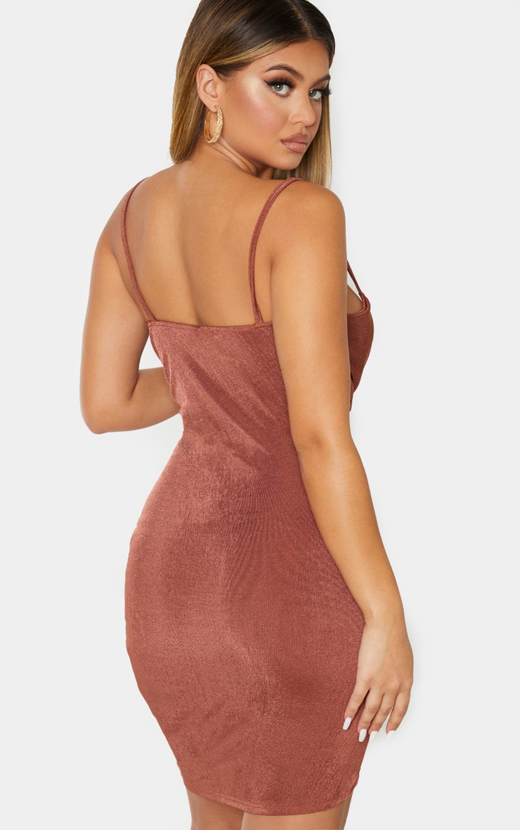 Chocolate Brown Textured Slinky Strappy Ruched Bodycon Dress 2