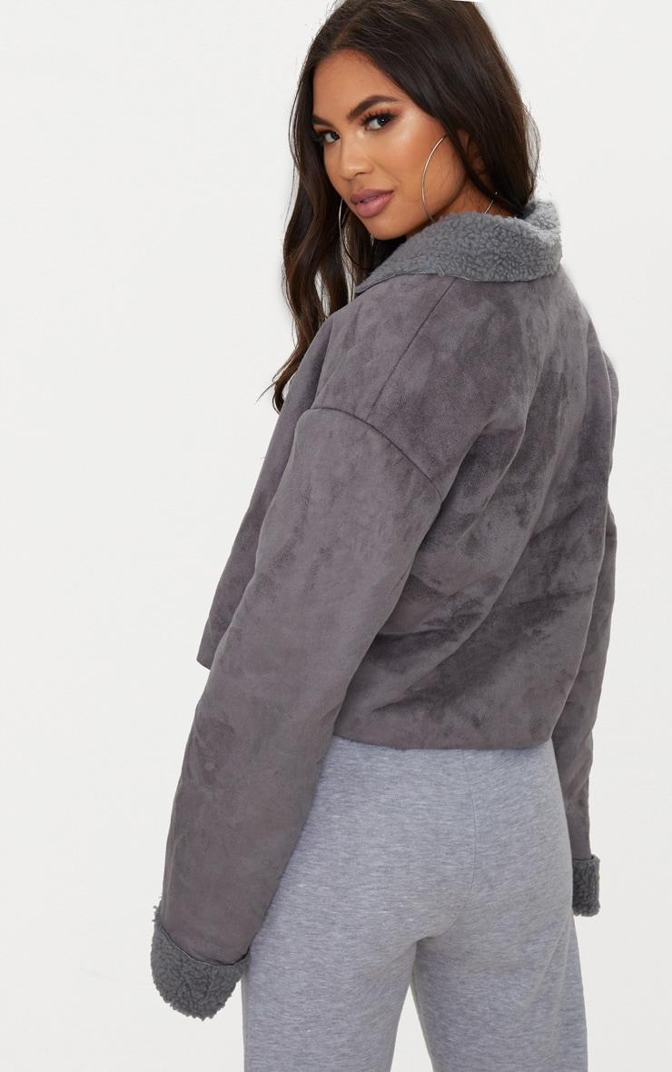 Grey Faux Suede Pocket Detail Cropped Jacket 2